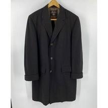 Morlano Mens Wool Overcoat XL Black Brown Button Up Dress Coat Italian D... - $99.00