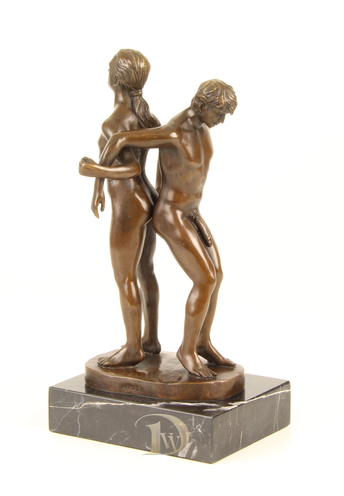 Antique Home Decor Bronze Sculpture shows Naked Men Lovers, signed * Free Air