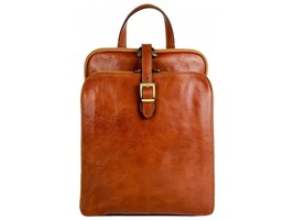 WOMEN'S ORANGE LEATHER BACKPACK - CLARISSA by Time Resistance - $230.00