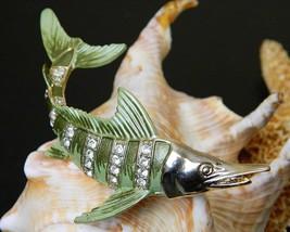 Vintage Marlin Fish Swordfish Brooch Pin Enamel Rhinestone Ocean Large - $29.95