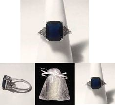 NEW #725 Ring Size 9 Simulated Diamond Sapphire Stamped 925 - $19.99