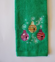 Holiday Fingertip Towel, Embroidered, Green Velour, Christmas Ornaments