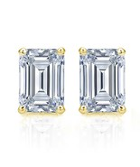 NEW Diamonique 2 CTW 14 K Yellow Gold Emerald Cut Stud Earrings~W/Gift Bag - $99.99