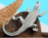 Vintage alligator crocodile brooch pin silver tone figural thumb155 crop