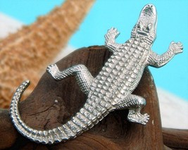 Vintage Alligator Crocodile Brooch Pin Figural Silver Tone  - €16,23 EUR