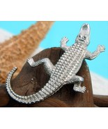 Vintage Alligator Crocodile Brooch Pin Figural Silver Tone  - $19.95