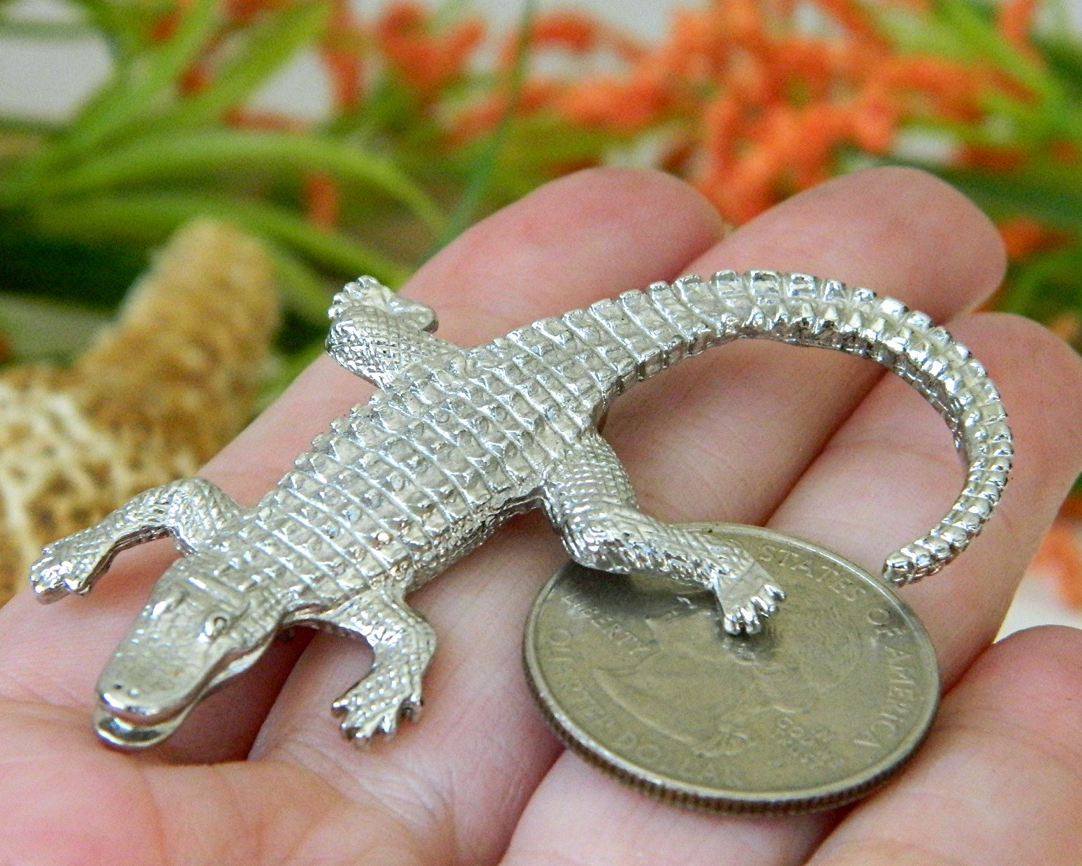 Vintage Alligator Crocodile Brooch Pin Figural Silver Tone  image 3