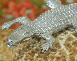 Vintage Alligator Crocodile Brooch Pin Figural Silver Tone  image 5