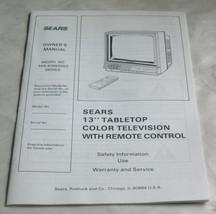 "1986 Sears Model 564.40652650 13"" Tabletop Color TV Owners Manual Instru... - $15.63"