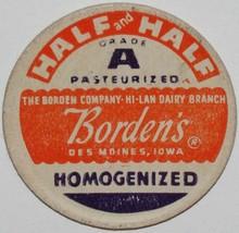 Vintage milk bottle cap BORDENS Half and Half Hi-Lan Dairy Branch Des Mo... - $9.99