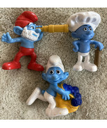 3 Smurfs Play Figures Toys Papa Smurf Telescope Blueberries - $6.43
