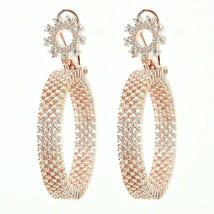 Pave Signty 5A CZ ArtDeco Sterling Silver Mesh InSideOutSide Hoop Earrings-Italy - $169.99