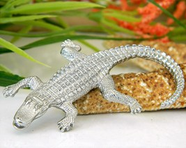 Vintage Alligator Crocodile Brooch Pin Figural Silver Tone  image 2