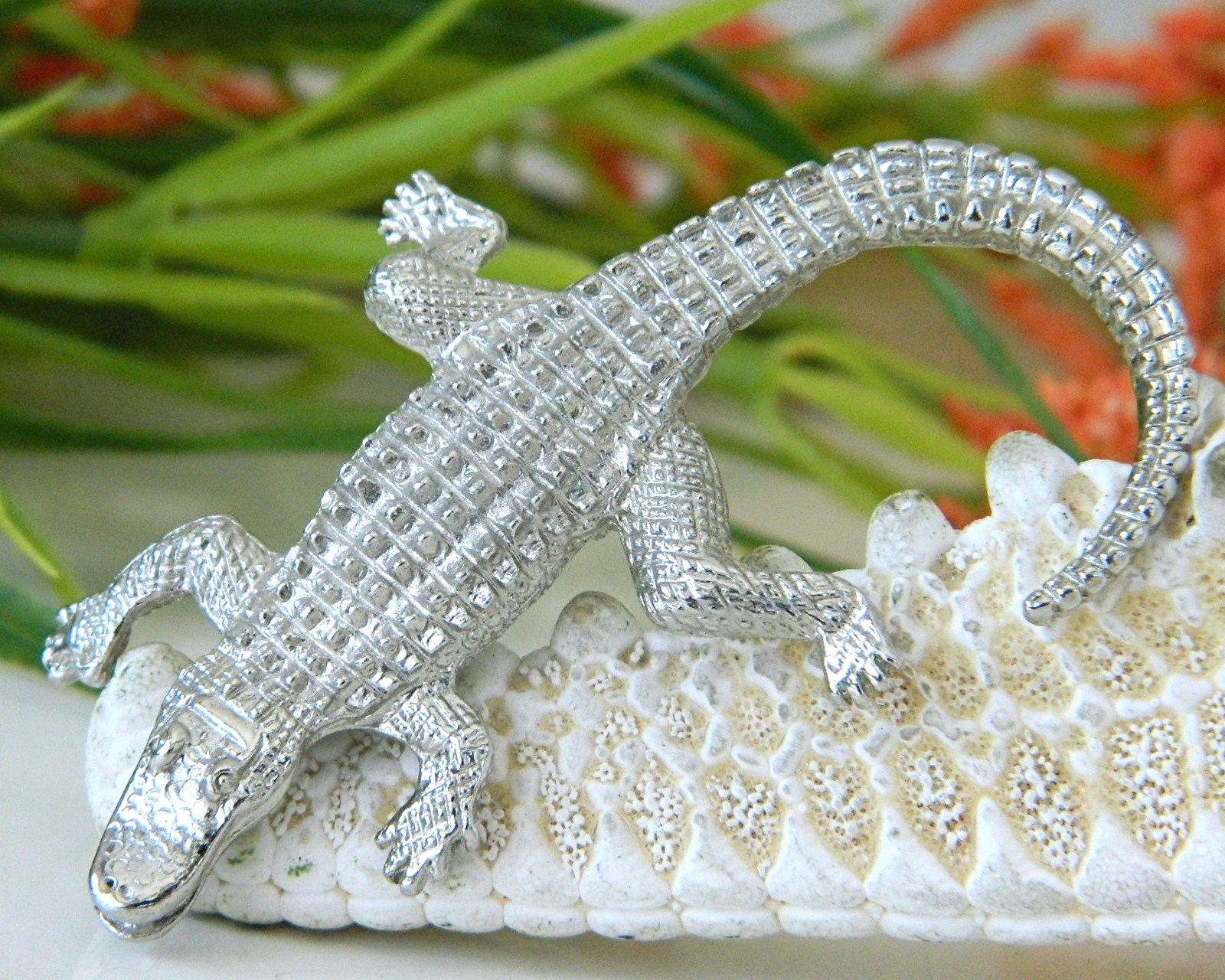 Vintage Alligator Crocodile Brooch Pin Figural Silver Tone  image 6