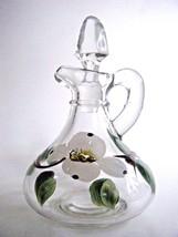 Hand Painted Glass Cruet Dogwood Pattern - $5.89