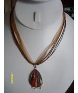 Ribbon Necklace  Multi-Color Stone - $9.95