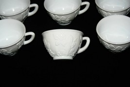 Set of 9 White Milk Glass Coffee Cups With Flowers and Vines Pattern - $56.09