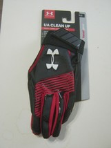 UNDER ARMOUR YOUTH  BALL BATTING GLOVES Y/LRG BLACK/RED NEW - $14.99