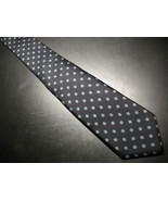 Higbee's Store For Men Neck Tie Made in Italy Black Silk Blue Gold Accents - $10.99