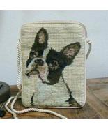 Boston Terrier Dog Breed Needlepoint Purse w/ Cord Strap - $24.95