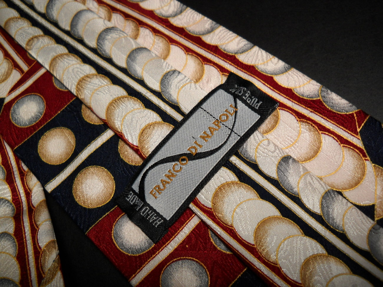 Franco Di Napoli Hand Made Silk Neck Tie Dropping Balls