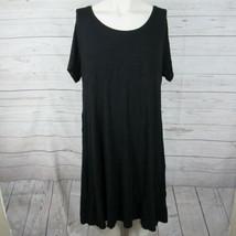 Style & Co 1X Dress Womens Black Swing Short Sleeve Plus SIze MSRP - $52.26