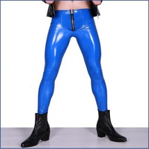 Men's Skin Tight Blue Color Faux Latex Zipper Pouch Stretch Pants Leggings