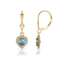 14K Yellow Gold White Sapphire & Topaz Halo Heart Dangle Leverback Earrings - $97.40