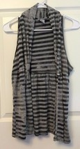 Longline Vest Open Front Distressed Gray Silver Faded Stripe Sparkle Jun... - $8.86