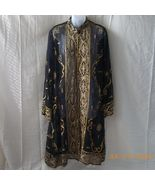 Sheer black coat jacket with embroidery and sequins from India - $56.25
