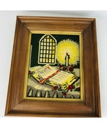 Vintage Finished Framed Religious Needlepoint Crewel Embroidery Candle B... - $49.49