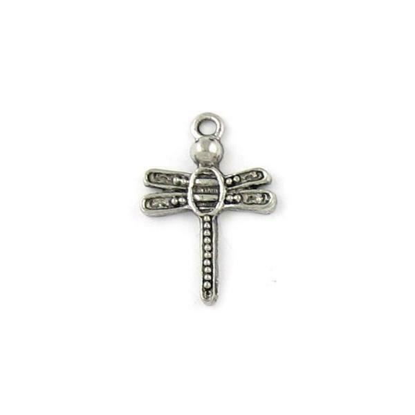 DRAGONFLY CHARM FINE PEWTER PENDANT CHARM 15mm L x 22mm W x 3mm D