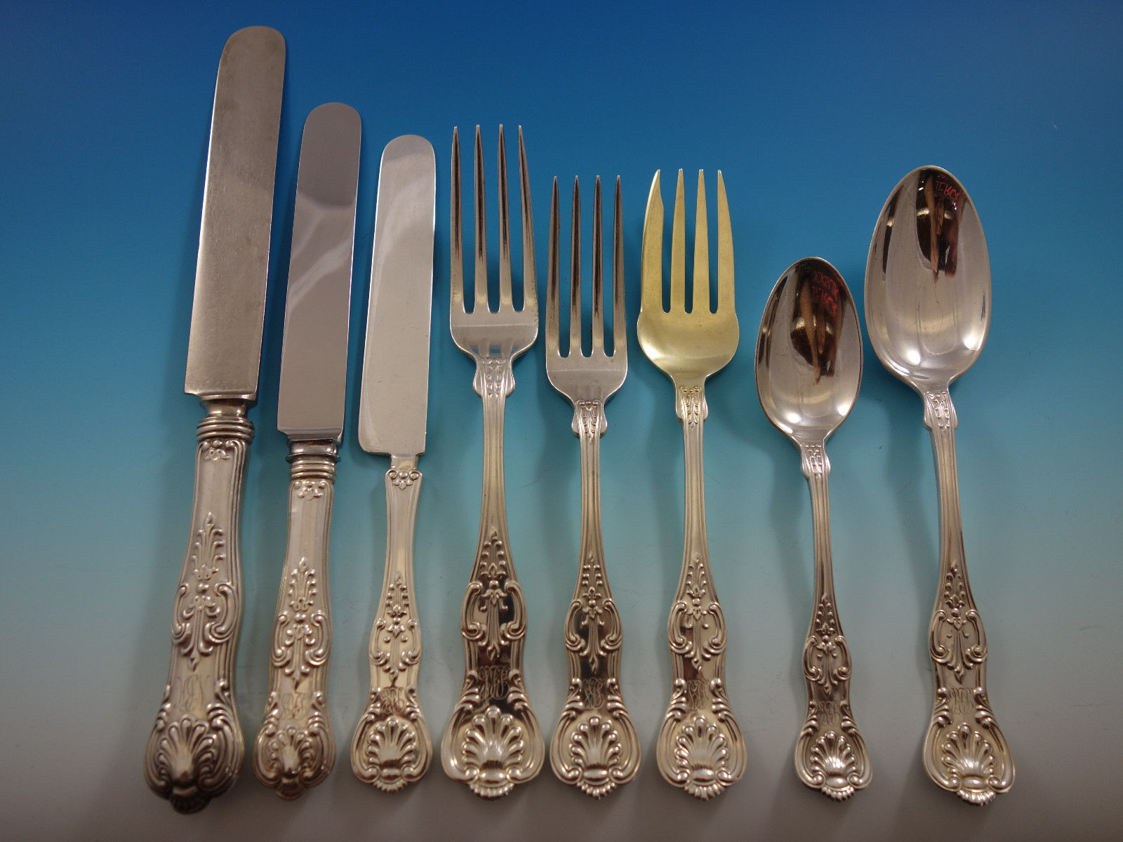 King by Dominick & Haff Sterling Silver Dinner Flatware Set 12 Service 100 Pcs