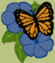Latch Hook Rug Pattern Chart: BUTTERFLY BLUES - EMAIL2u - $5.75