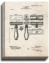 Gillette Razor Patent Print Old Look on Canvas - $39.95+