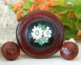 Vintage Redwood Burl Pin Brooch Earrings Hand Painted Enamel - $24.95