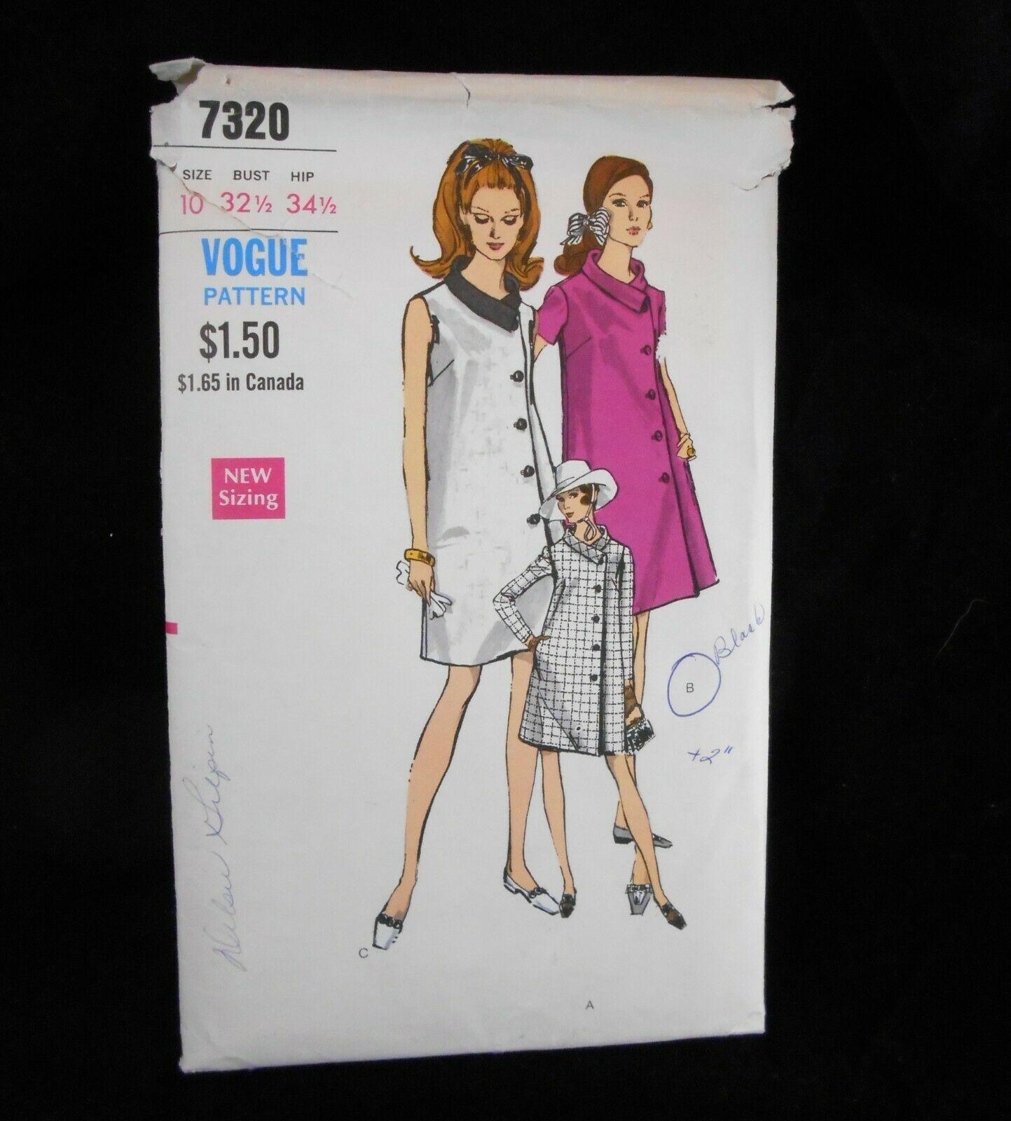 Vogue 7320 Womens 10  Maternity Dress A-Line Coatdress One Piece Pockets sleeve
