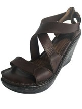 Born Sandals Womens Wedge Leather Sandals 6B  8355 Brown - $19.40