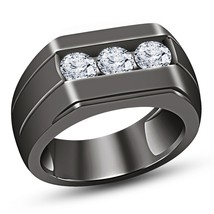 White Diamond Pinky Ring Round Cut 10K Black Gold Finish Top Mens Pave Band Ring - £90.72 GBP