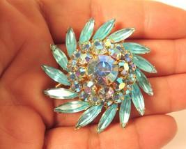 JUDY LEE Vintage Signed Aqua Turquoise & AB Rhinestone Tiered Flower Bro... - $47.47