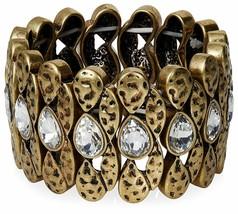 Neu Lesile Danzis Aged 14K Vergoldet Stretch Armband mit Kristallen