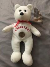 "Louisiana State Bear With Coin 6"" Tall Plush Bean Bag Bear With Tag - $8.55"