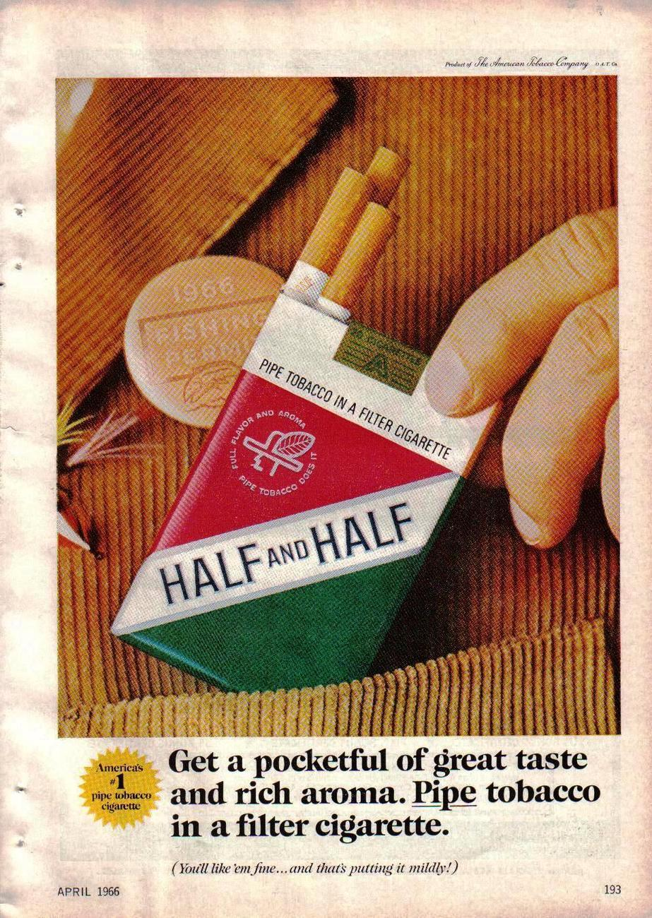 Primary image for  1966 Vintage Print Ad For Half and Half Pipe Tobacco In A Filter Cigarette