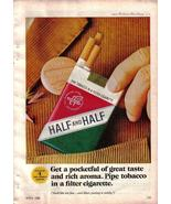 1966 Vintage Print Ad For Half and Half Pipe Tobacco In A Filter Cigarette - $2.49