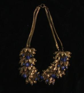 Blue and gold leaf necklace