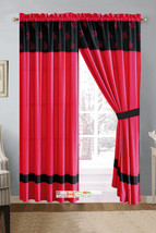 4-Pc Darci Embroidery Tripartite Leaves Curtain Set Hot Pink Black Sheer Liner - $30.74