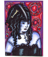 monster girl woman original aceo art drawing zombie undead modern goth h... - $7.99