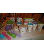 RARE LOT CENTURY ICE CREAM PARTY SUNDAE BANANA SPLIT & CONE DISHES BOWLS 28 PCS - $98.99