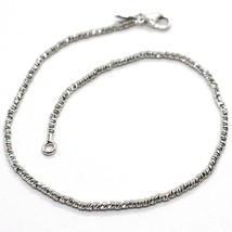 18K WHITE GOLD BRACELET WITH FINELY WORKED SPHERES, 1.5 MM DIAMOND CUT B... - $189.00