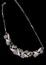 """1950s CORO 17"""" Blue Rhinestone Aurora Borealis Necklace  - $18.95"""